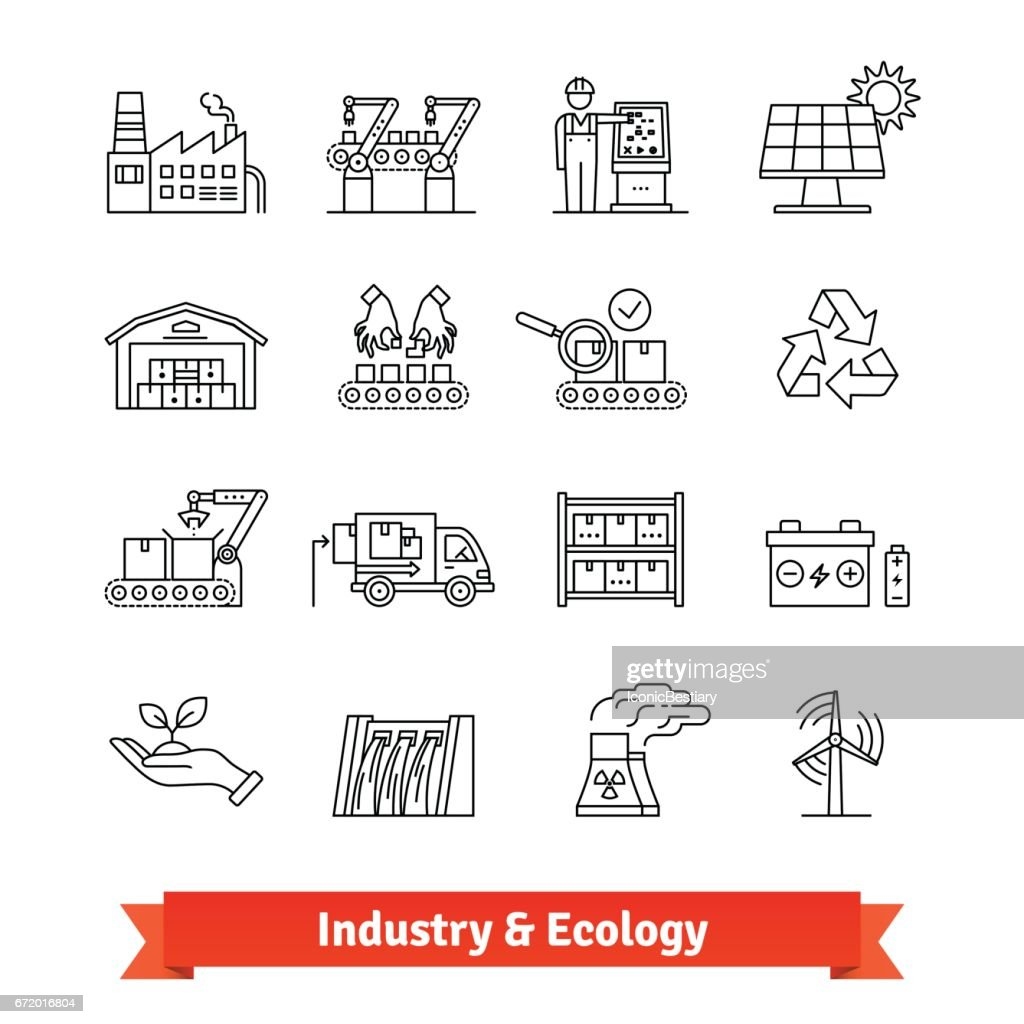 Industry and Ecology thin line art icons set