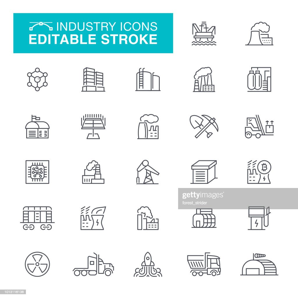 Industry and Factories Line Icons : stock illustration