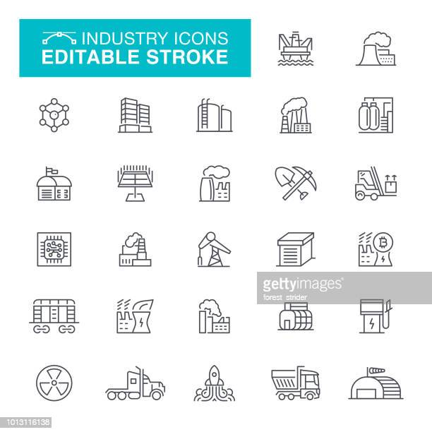 industry and factories line icons - fuel station stock illustrations, clip art, cartoons, & icons