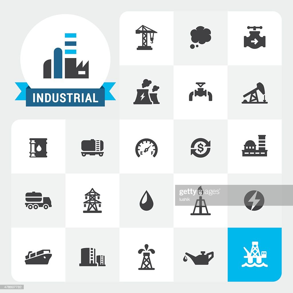 Industry base vector icons and label