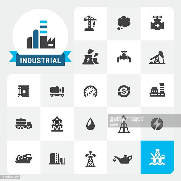 industry base vector icons and label - offshore platform stock illustrations, clip art, cartoons, & icons