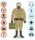 Industry concept. Detailed illustration of soldier isoldier in camouflage protective suit. Safety vector icons. Set of signs: chemical, radioactive, dangerous, toxic, poisonous, hazardous substances.