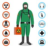 Industry concept. Detailed illustration of worker in green protective suit. Safety and health vector icons. Set of signs: chemical, radioactive, dangerous, toxic, poisonous, hazardous substances.