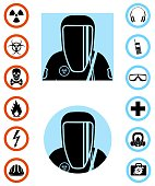 Industry concept. Differences people characters avatars icons. Worker in protective suit. Safety vector icon. Set of signs: chemical, radioactive, dangerous, toxic, poisonous, hazardous substances.