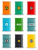 Industry concept. Set of different illustration silhouettes barrel for various liquids: water, oil, biofuel, explosive, chemical, radioactive, toxic, hazardous, dangerous, flammable and poisonous substances and liquids. Vector
