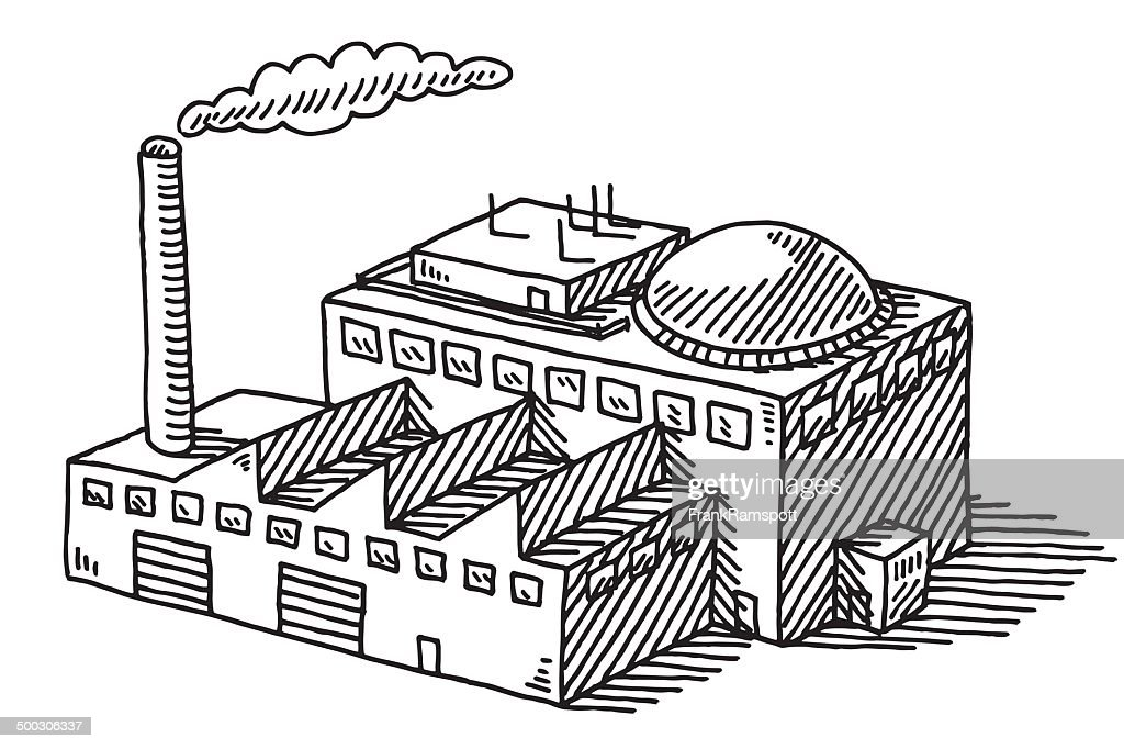 Industry Factory Building Drawing : Stock Illustration