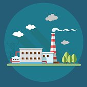 industry factory. Flat style vector illustration.
