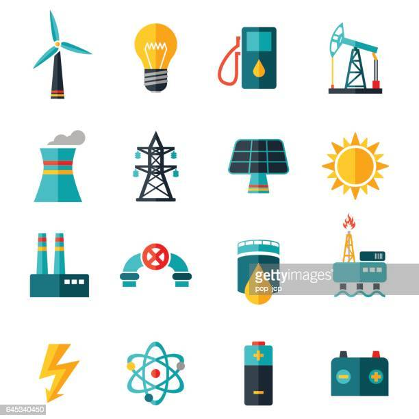 industry flat icons - illustration - nuclear energy stock illustrations