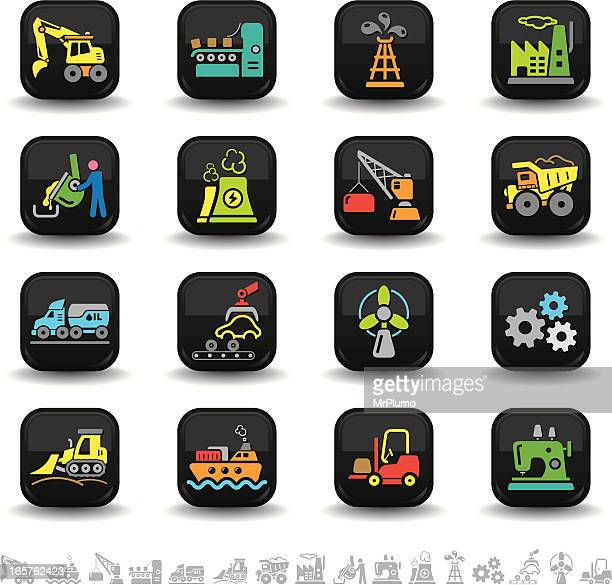 industry icons | bbton series - metal industry stock illustrations