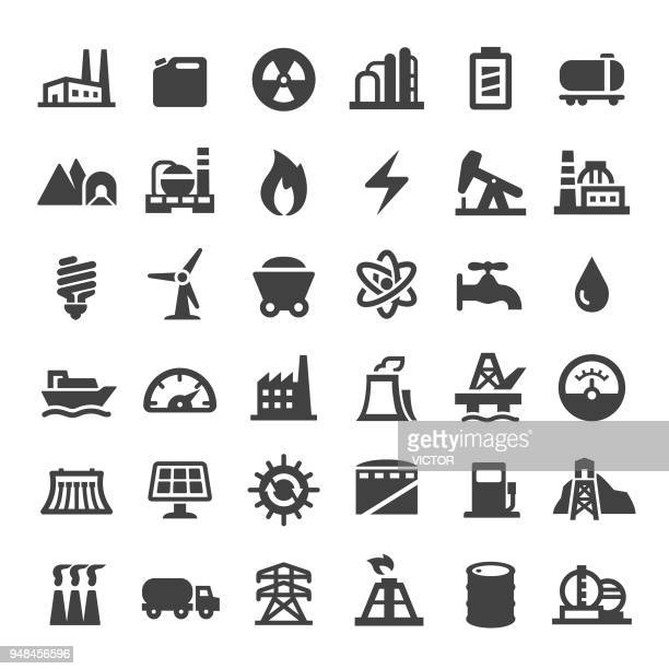 industry icons - big series - nuclear power station stock illustrations