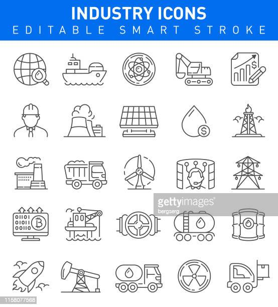 industry icons. editable vector stroke - nuclear energy stock illustrations