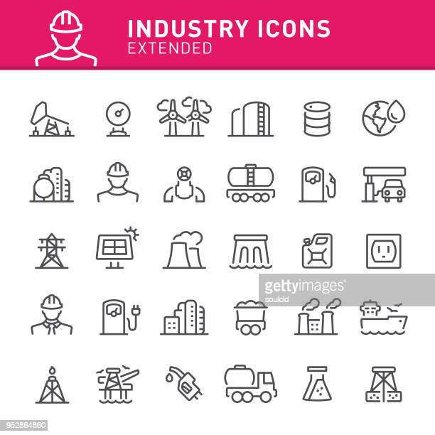 industry icons - nuclear energy stock illustrations