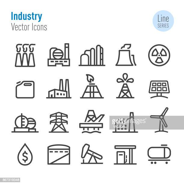 industry icons - vector line series - nuclear energy stock illustrations