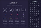 Industry infographic template, elements and icons