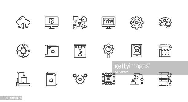 industry, optimization, automation, smart factory, cyber security icons - deep learning stock illustrations