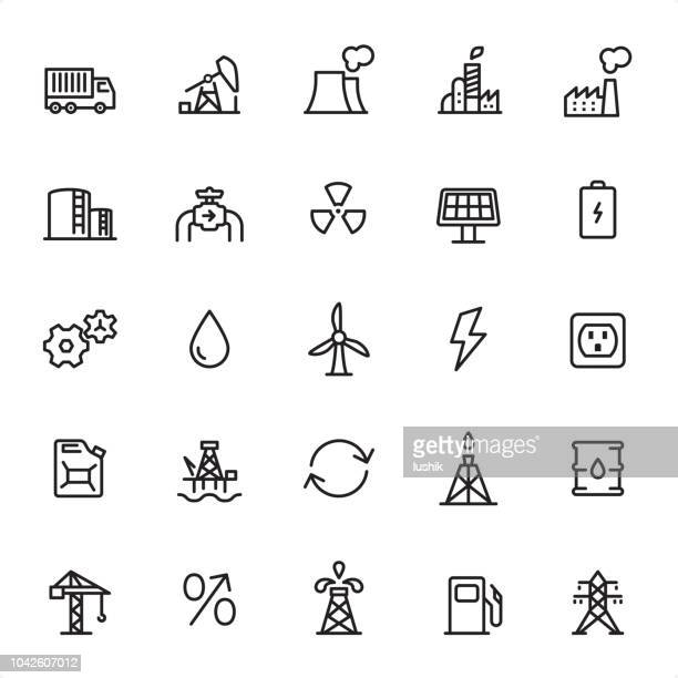 industry - outline icon set - petrol stock illustrations, clip art, cartoons, & icons