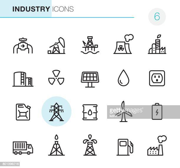 industry - pixel perfect icons - nuclear energy stock illustrations