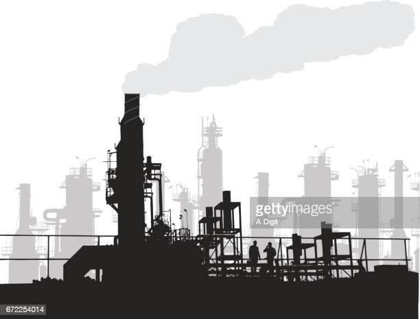 ilustraciones, imágenes clip art, dibujos animados e iconos de stock de polusión de la industria - gas de efecto invernadero