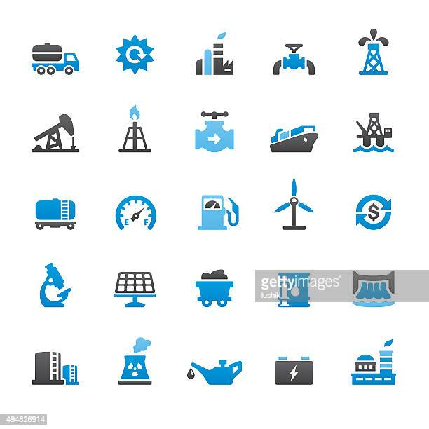 industry related vector icons - drilling rig stock illustrations, clip art, cartoons, & icons