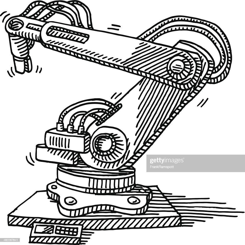 Industry Robot Drawing : Vector Art
