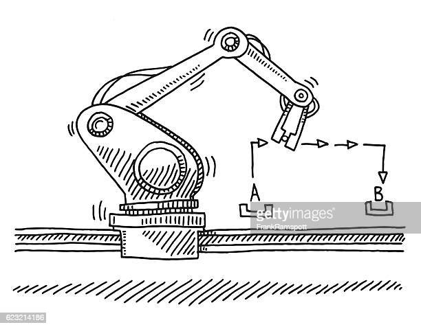 Industry Robot Moving From A To B Drawing