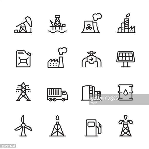 industry station - outline icon set - oil pump stock illustrations, clip art, cartoons, & icons