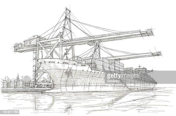 industry - harbour stock illustrations