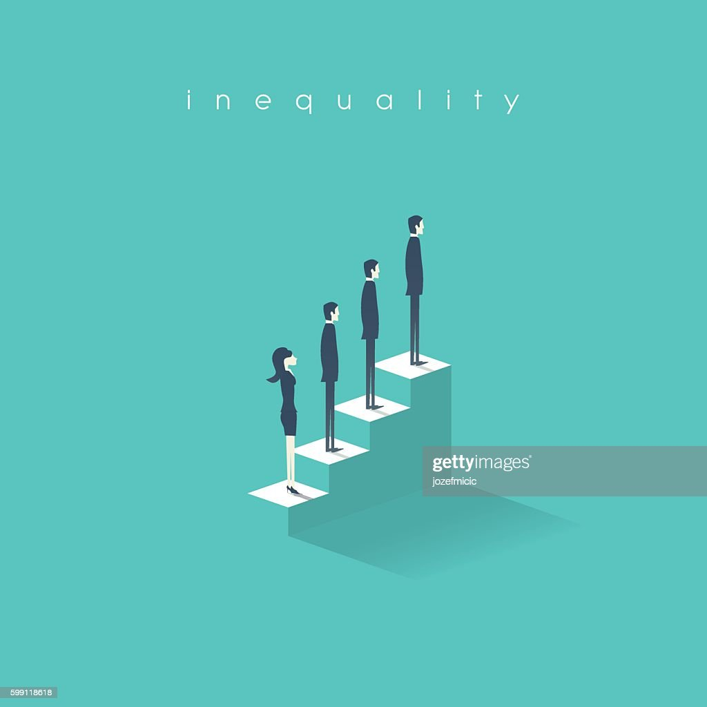 Inequality concept vector illustration man versus woman in business. Difference