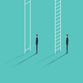 Inequality in career promotion concept. Two businessmen standing and climbing