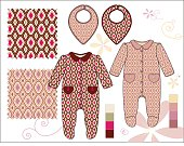 Infant Girl One-piece Collar footed illustration Pink & Rose