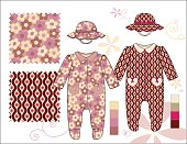 Infant_Girl_Coveralls_footed_Hats_illustration_Brown_Rose