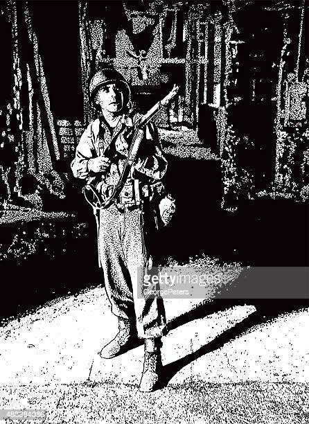 infantry soldier searching for enemy in bombed out building - korean war stock illustrations, clip art, cartoons, & icons