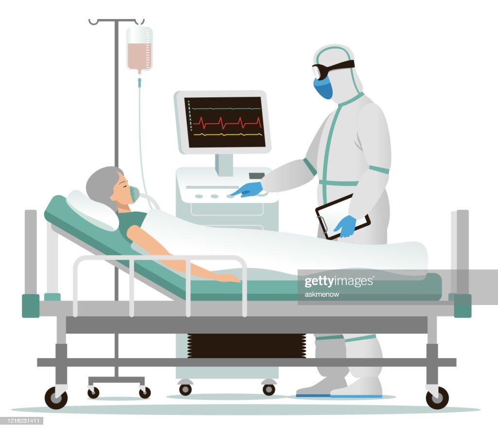 病院で感染した女性 : ストックイラストレーション