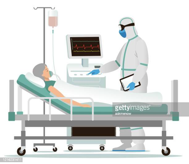 infected woman in a hospital - patient on ventilator stock illustrations