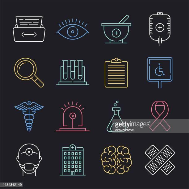 ilustraciones, imágenes clip art, dibujos animados e iconos de stock de control de enfermedades infecciosas neón estilo vector icono conjunto - habitos de higiene