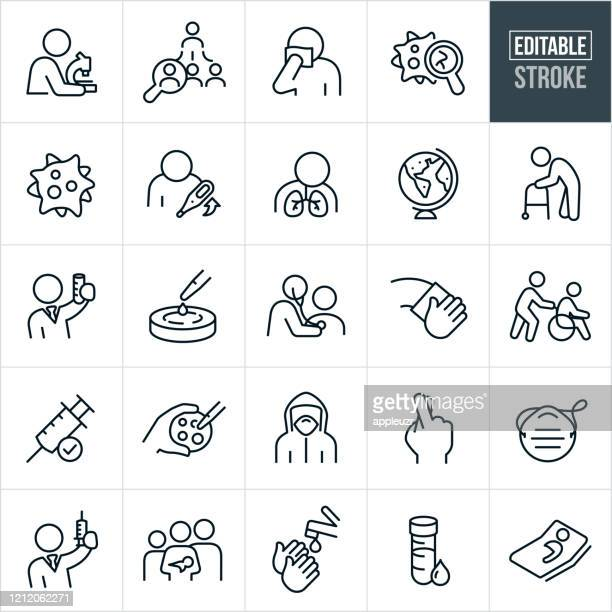 infectious disease thin line icons - editable stroke - coughing stock illustrations