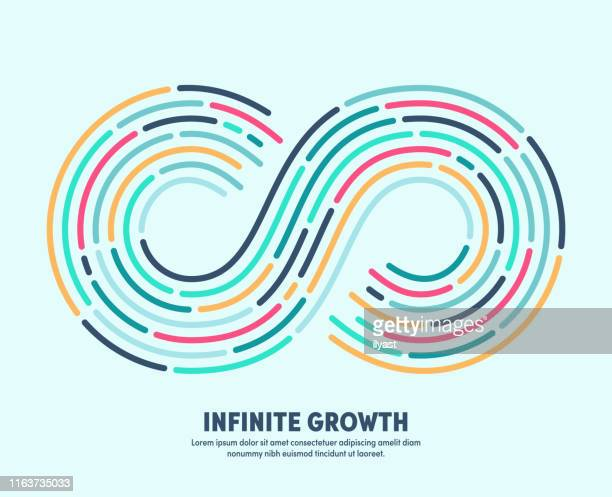 infinite growth with conceptual infinite loop sign - eternity stock illustrations