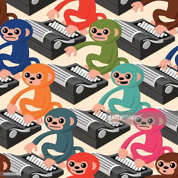 Infinite singes sur machines à écrire (motif sans couture)