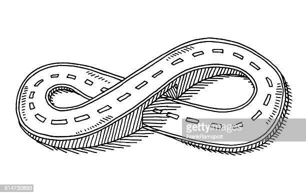 ilustraciones, imágenes clip art, dibujos animados e iconos de stock de carretera de borde infinito y ocho forma de dibujo - circuito de carreras de coches