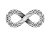 Infinity sign made of metal wire. Limitless strip symbol. Vector illustration.