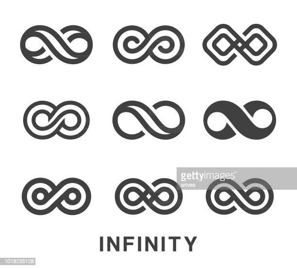 infinity symbol icons set - symbol stock illustrations