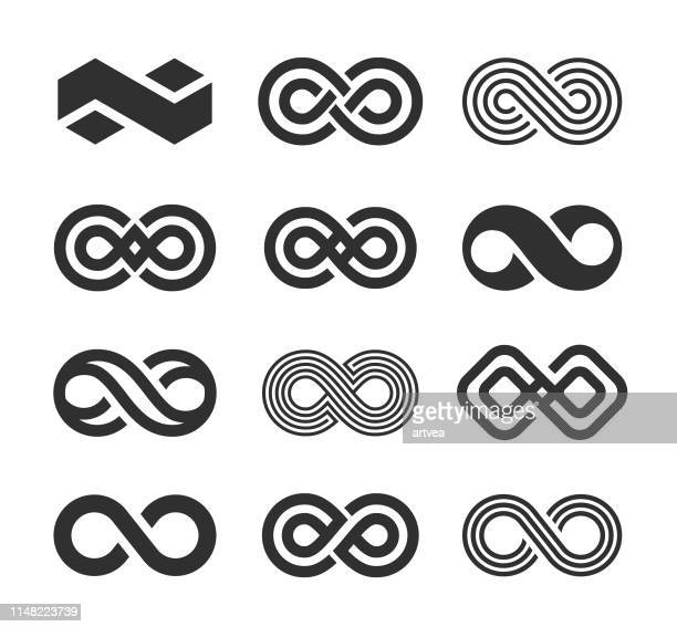 infinity symbol icons set - infinity stock illustrations