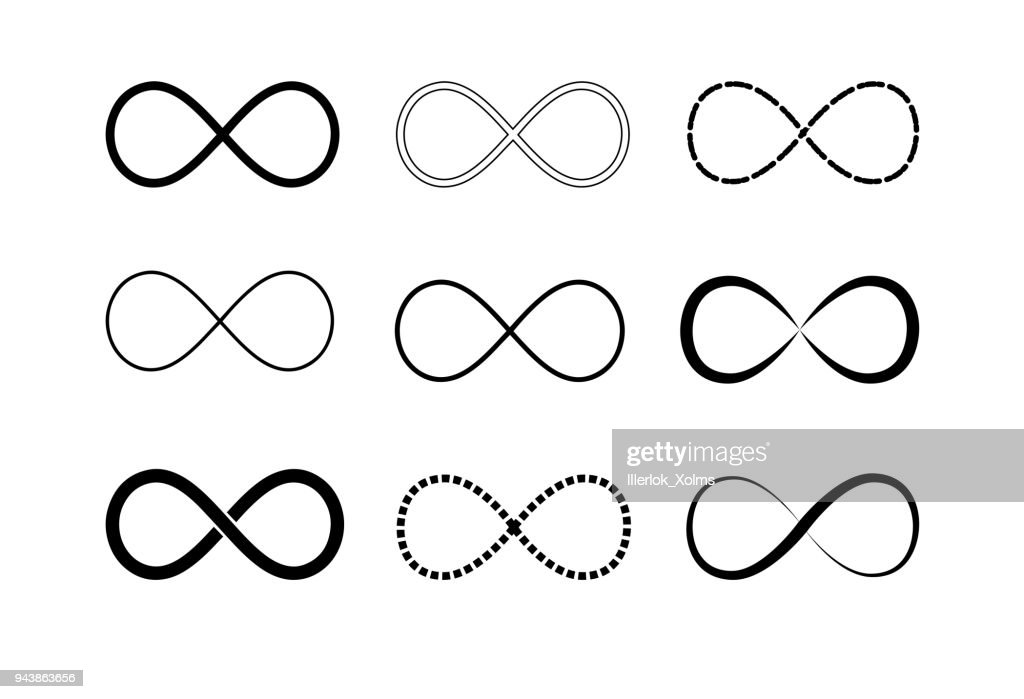 Infinity symbol logos set. Black contours. Symbol of repetition and unlimited cyclicity. Vector illustration isolated on white background.