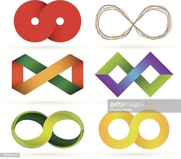 infinity symbol set - infinity stock illustrations