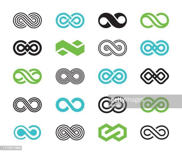 infinity symbols icon set - infinity stock illustrations