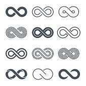 Infinity symbols icon set - vector