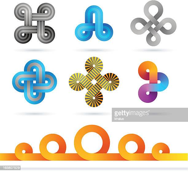 Infinity-shaped designs in a variety of colors