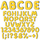 Inflatable alphabet, letters, numbers and signs. Set of colored isolated vector objects.
