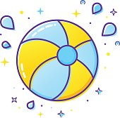 Inflatable ball and splash icon isolated