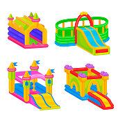 Inflatable colorful castle for outdoor kid fun
